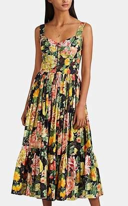 Dolce & Gabbana Women's Floral Cotton Poplin Dress - Black