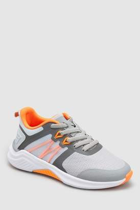 Next Boys Grey Elastic Lace Trainers (Older)