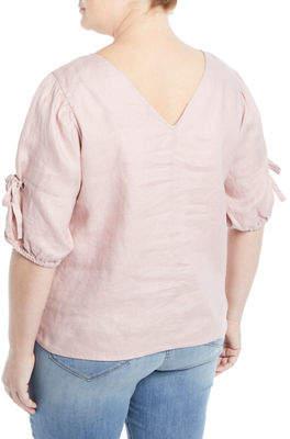 Neiman Marcus Plus Linen Tie-Sleeve Blouse, Plus Size
