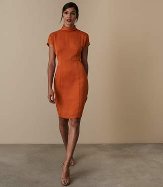 Reiss REX SATIN FITTED DRESS Burnt Orange