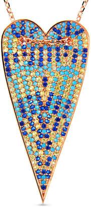Cosanuova Multi-Color Long Heart Necklace