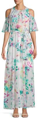 Calvin Klein Collection Cold-Shoulder Floral Chiffon Long Dress