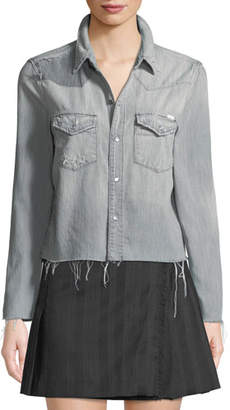 Mother Super Exes Cropped Frayed Snap-Front Shirt