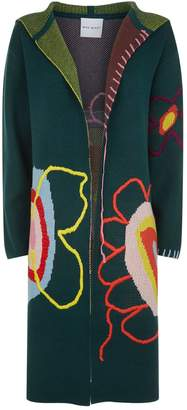 Mira Mikati Embroidered Flower Hooded Cardigan