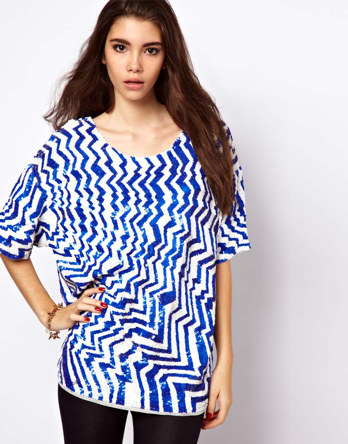 Asos Oversized T-Shirt with Sequin Zig Zag
