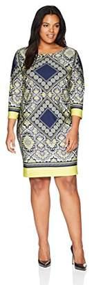 Tiana B Women's Plus Size Boat Neck Shift Dress