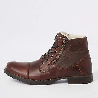River Island Brown leather zip side lace-up boots