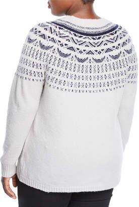Neiman Marcus Plus Fair Isle Knit Pullover Sweater, Plus Size