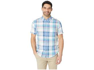 Nautica Short Sleeve Rivera Plaid Linen Shirt