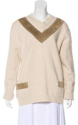 Derek Lam Suede-Trim Wool Sweater