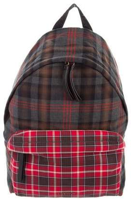 Givenchy Leather-Trimmed Plaid Backpack