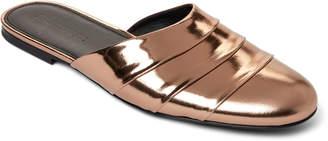Jil Sander Bronze Paneled Leather Flats Mules