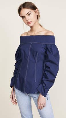 Cédric Charlier Shirting Off Shoulder Top