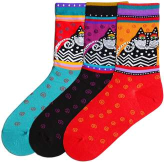 Laurèl Burch Women's Crew Socks 3 Pair (Polka Dot Cat Black, Turquoise & Red)