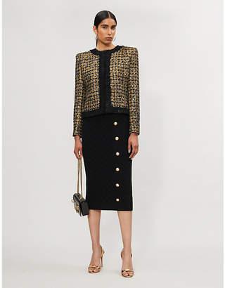 Balmain Collarless metallic tweed jacket