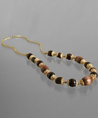Kenneth Jay Lane wood beaded long necklace