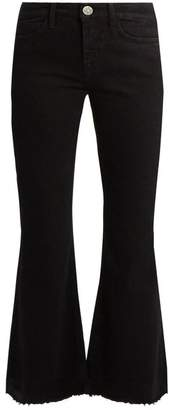 MiH Jeans Lou High Rise Flared Cropped Jeans - Womens - Black