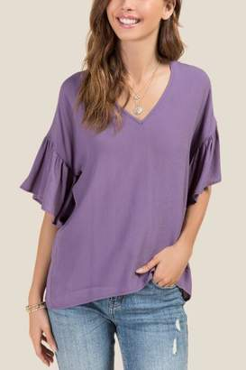 francesca's Gloria Ruffle Sheared V-Neck Blouse - Vintage Purple