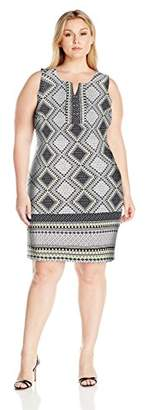 Notations Women's Plus Size Sleeveless Border Print Dress with Open Keyhole
