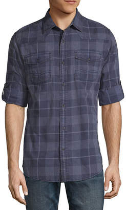 Decree Mens Elbow Sleeve Button-Front Shirt