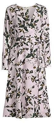 Diane von Furstenberg Women's Elle Floral Silk Long-Sleeve Midi Dress