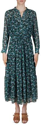 Gerard Darel Della Floral-Print Drawstring Midi dress