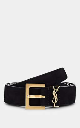 Saint Laurent Women's Monogram Suede Belt - Black