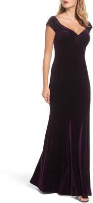 La Femme Sweetheart Rhinestone Velvet Gown