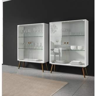 URBAN RESEARCH Ideaz International 23105 Lina Cabinet with glass White Satin
