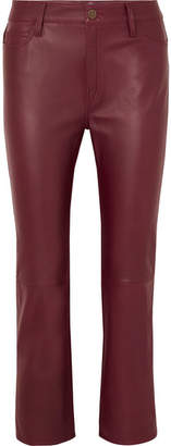 MiH Jeans Daily Cropped Leather Straight-leg Pants - Burgundy