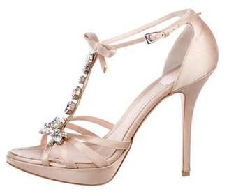 Christian Dior Satin Embellished Sandals