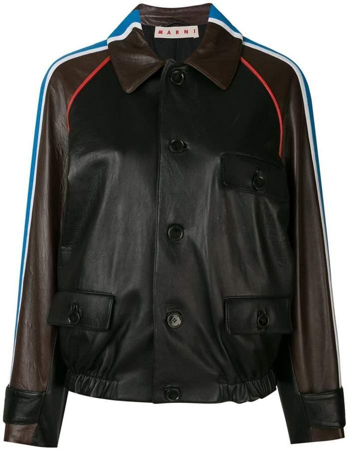 shoulder stripe leather bomber