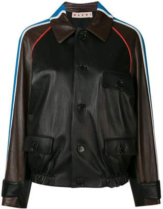 Marni shoulder stripe leather bomber