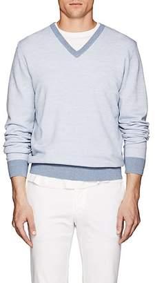 Fioroni Men's Diagonal-Jacquard Mélange Wool-Cashmere Sweater - Lt. Blue