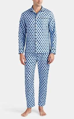 Maison Marcy Men's Top-Hat-Print Cotton Slim Pajama Set - Blue Pat.