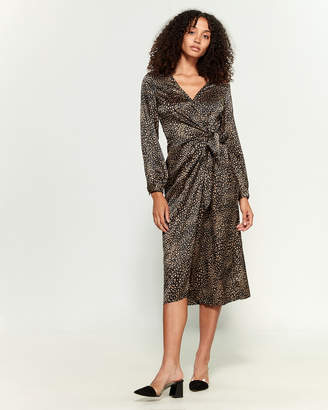 Lush Printed Wrap Midi Dress