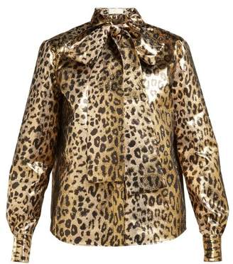 Sara Battaglia Pussy Bow Leopard Lame Blouse - Womens - Leopard