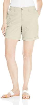 Caribbean Joe Women's Solid New High Density Poplin 7 Inch Inseam Short with Slant Front Pockets and Welt Back Pockets with Cuffed Hem