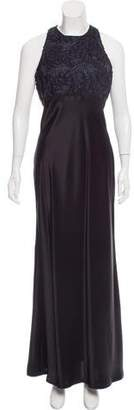 Carmen Marc Valvo Embroidered Satin Dress w/ Tags