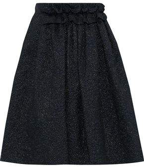 Lanvin Ruffle-trimmed Metallic Cloque Skirt
