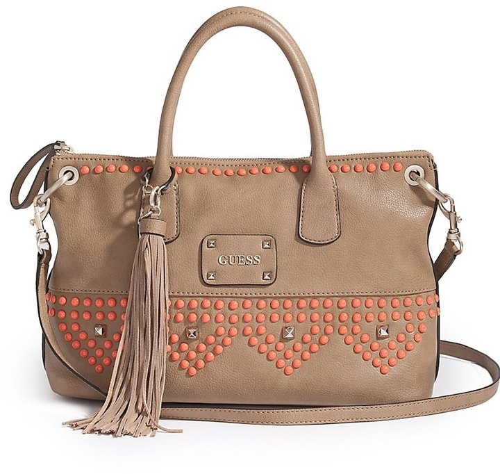 GUESS Pavilla Satchel with Solid-Color Studs