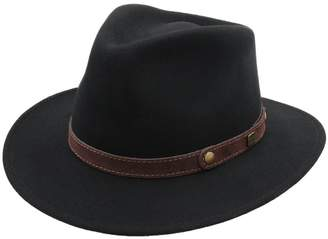 Classic Italy Men's Traveller II Wool Felt Fedora Hat Size 59 cm Black-Handmade-Brown