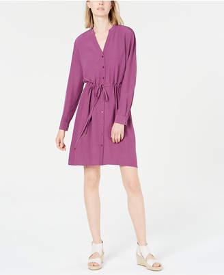 Eileen Fisher Drawstring-Waist Shirtdress
