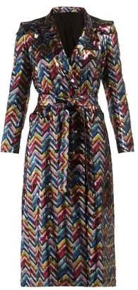 BLAZÉ MILANO Funky Fred Chevron Silk Blend Lame Midi Dress - Womens - Multi
