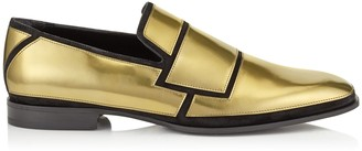 Jimmy Choo SPENCER Dark Gold Liquid Mirror Leather and Black Suede Loafers