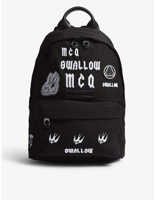 McQ Black Embroidered Swallow Backpack