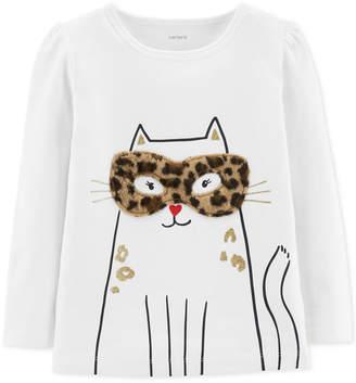 Carter's Carter Toddler Girls Cat-Print T-Shirt With Faux-Fur Trim