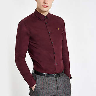 River Island Mens Farah burgundy button-down shirt