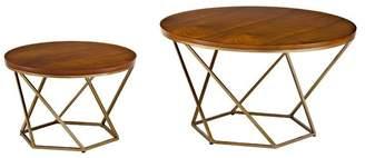 Walker Edison Geometric Wood 2-Piece Nesting Coffee Table Set