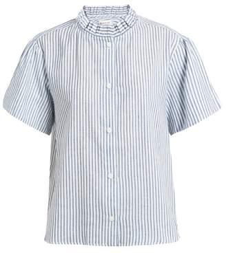Masscob Tulum Ruffled Striped Cotton And Linen Blend Shirt - Womens - White Multi